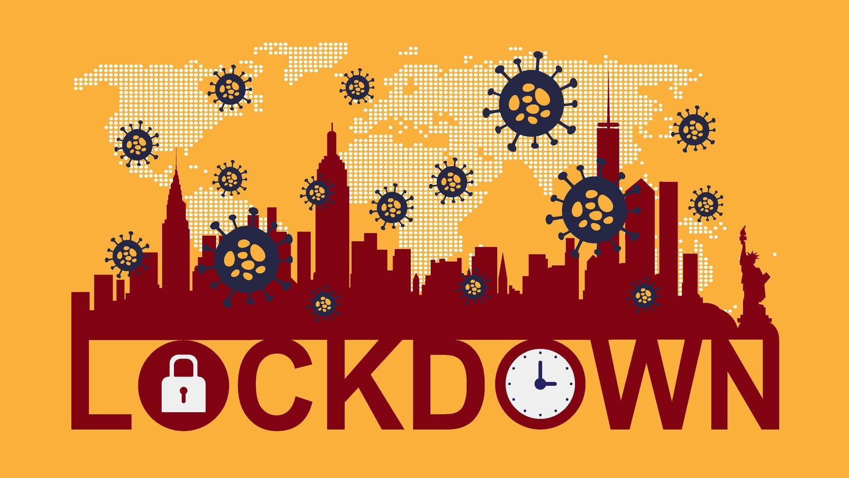 poster van stad silhouet met lockdown tekst - Download Free Vectors, Vector  Bestanden, Ontwerpen Templates