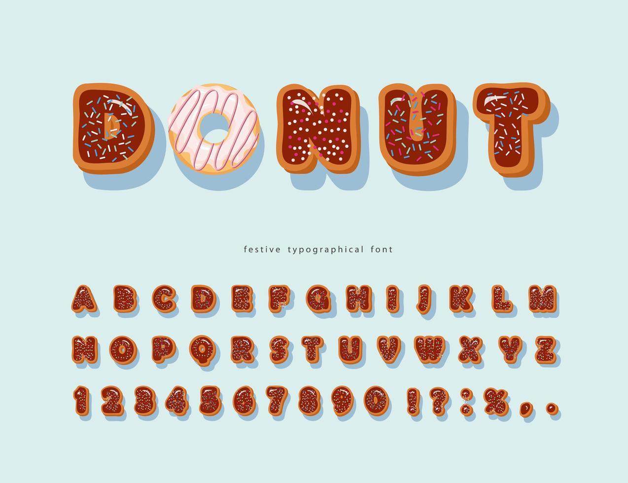 zoete decoratieve chocolade lettertype met hagelslag vector