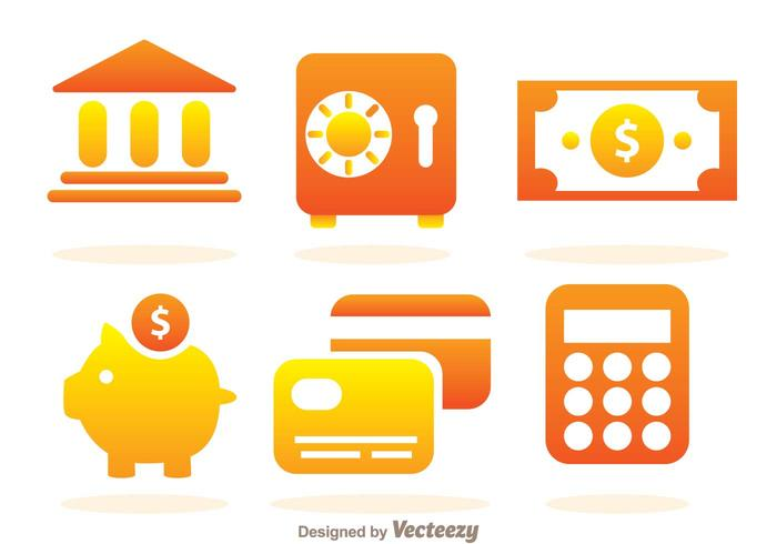 Eenvoudige bank iconen vector