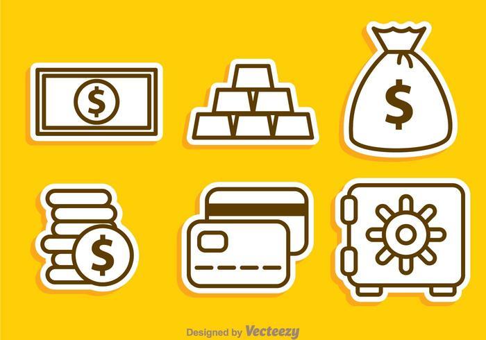 Geldoverzicht iconen vector
