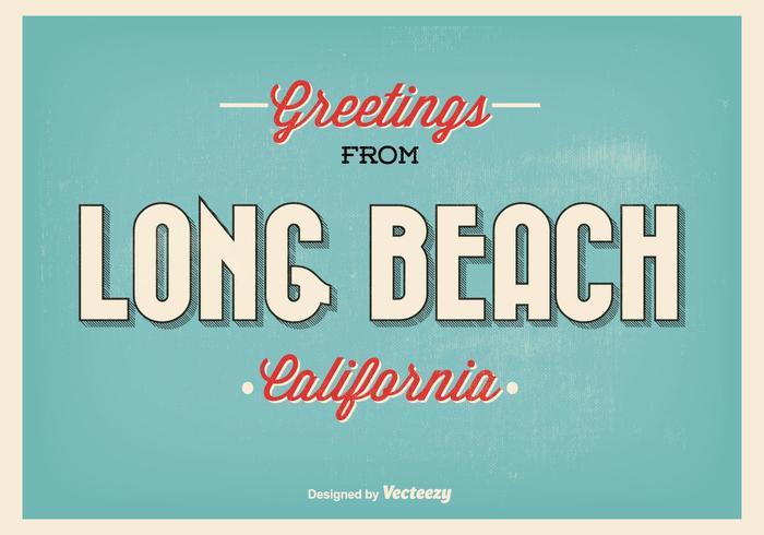 Long Beach Retro Greeting Illustratie vector