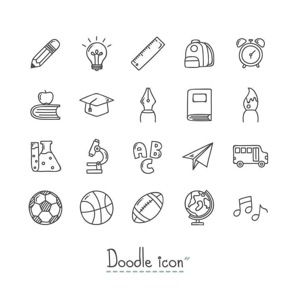 terug naar school hand getrokken pictogrammen instellen vector