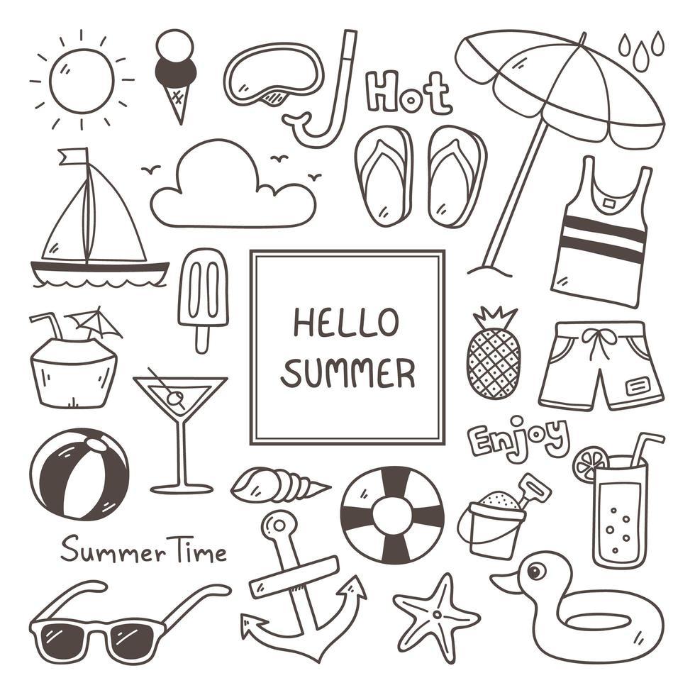 hand getrokken zomer doodle elementen instellen vector