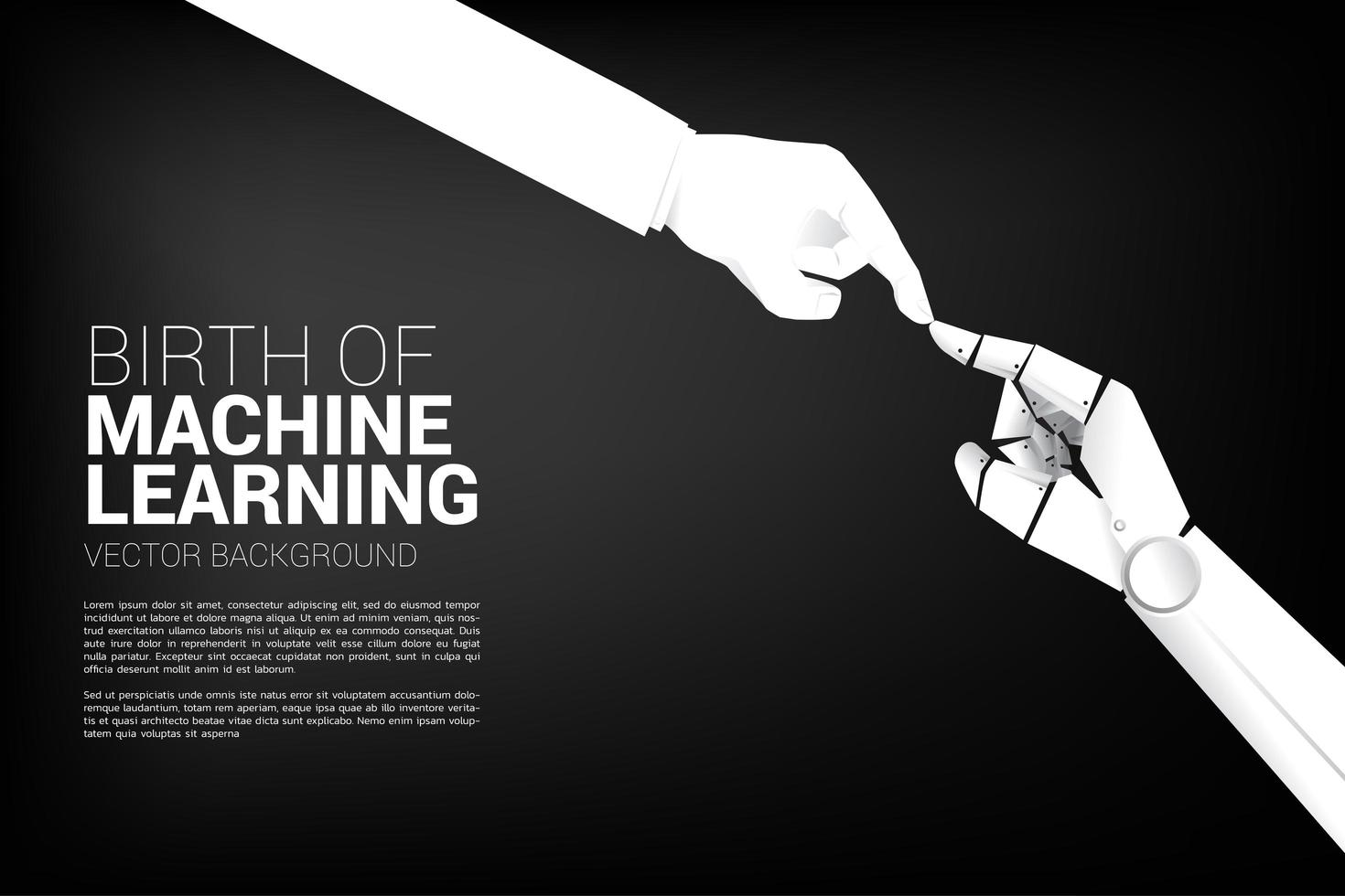 robot hand aanraken van menselijke hand vector