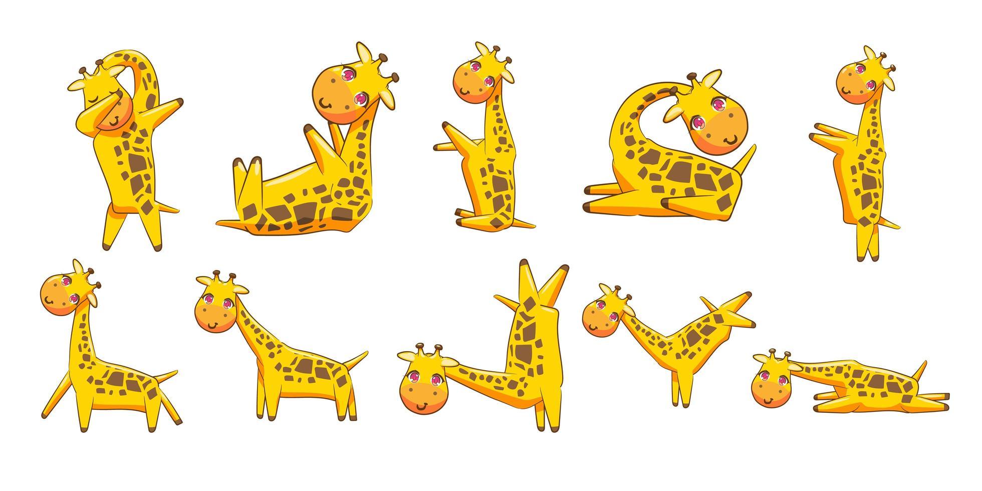 giraffe cartoon set vector
