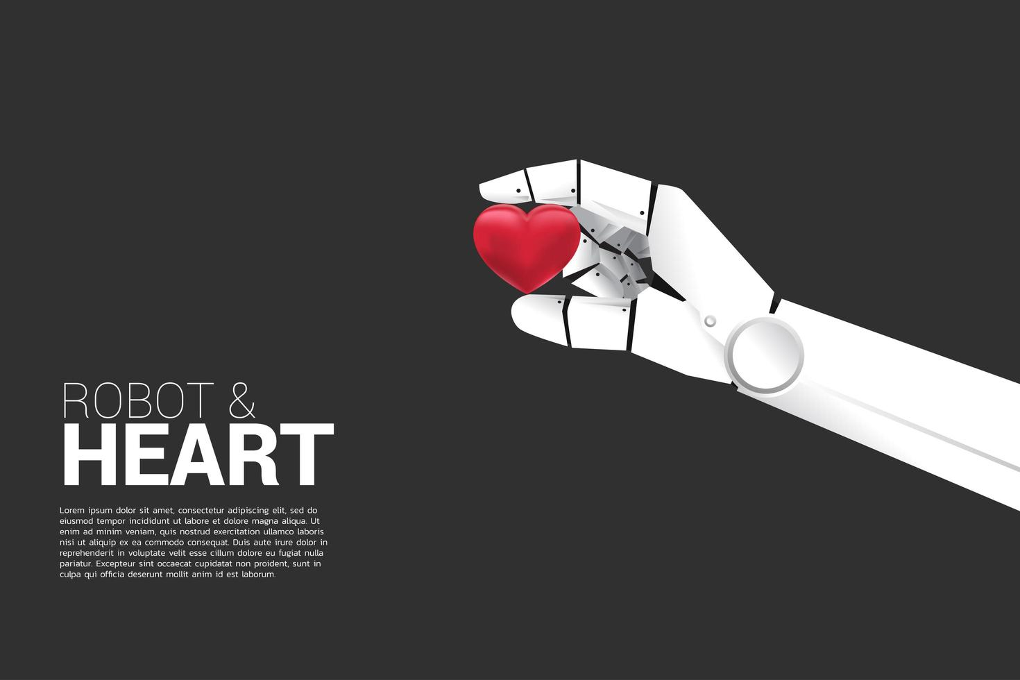 robot hand met 3D-hart vector