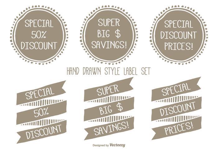 Handgetekende Style Discount Label Set vector
