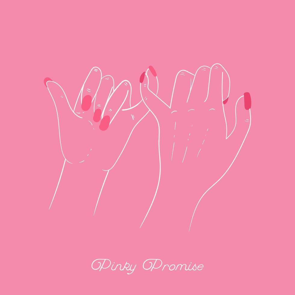 pink belofte met vrienden die vingers kruisen vector