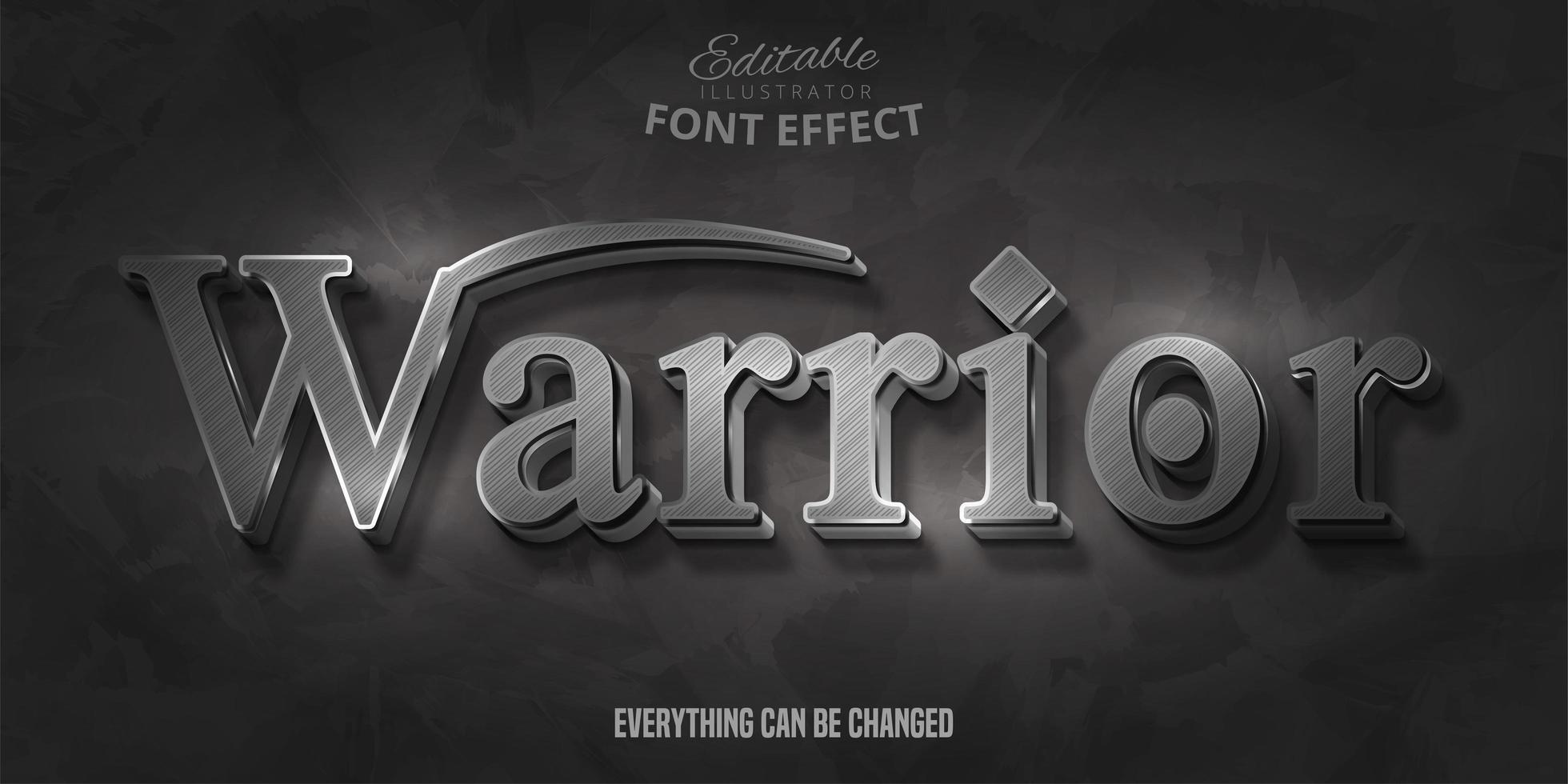 Warrior-tekst, 3D-bewerkbaar lettertype-effect vector