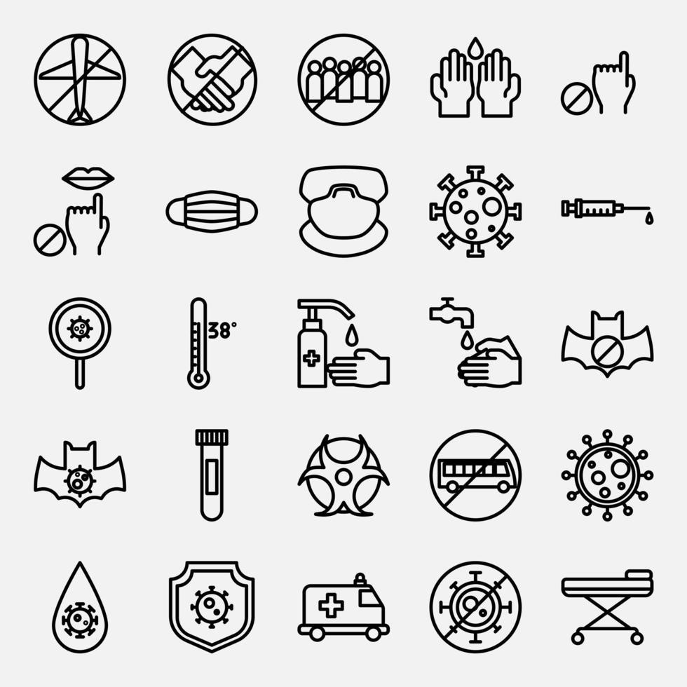 set van pandemie pictogrammen vector