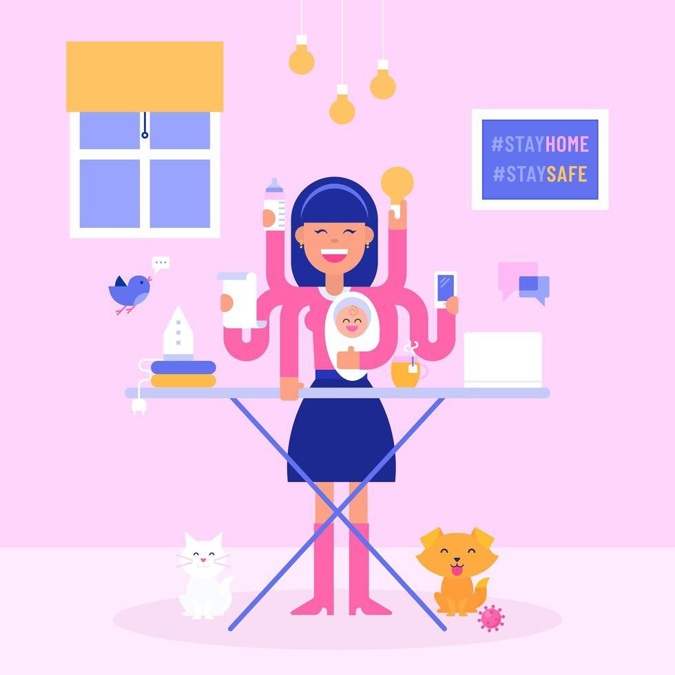 moeder multitasking tijdens zelfisolatie vector