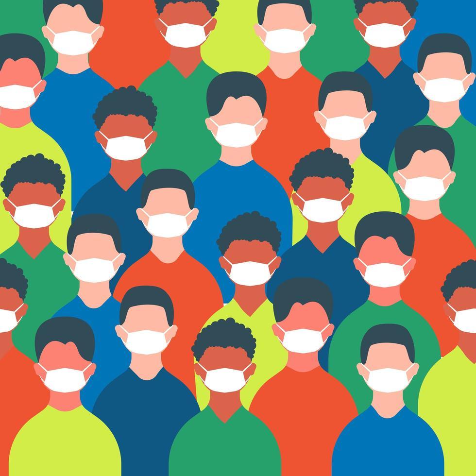 menigte van mensen in maskers vector
