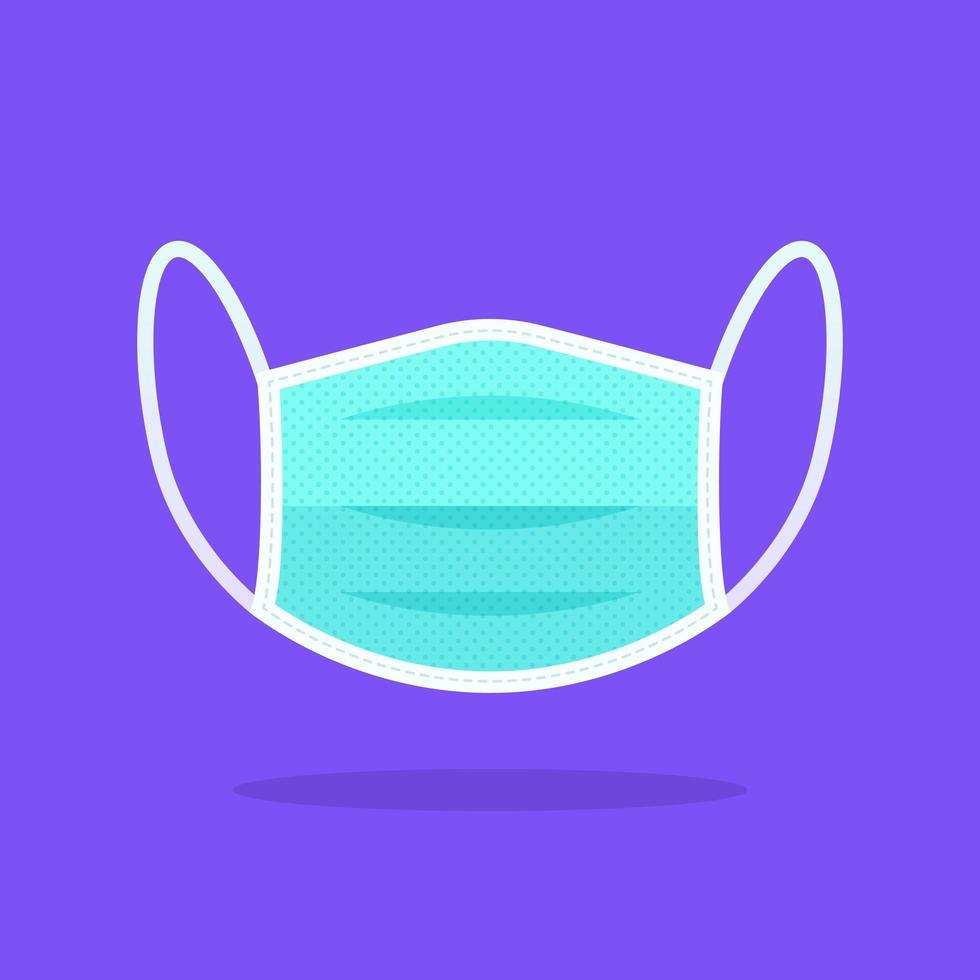 veiligheid ademhaling medische gezichtsmasker platte pictogram vector