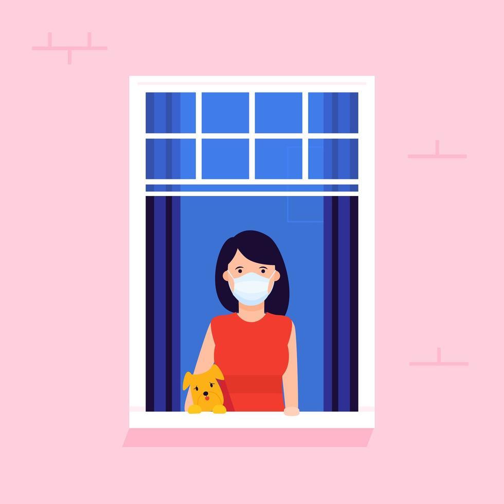 vrouw samen met haar hond kijkt uit het raam vector