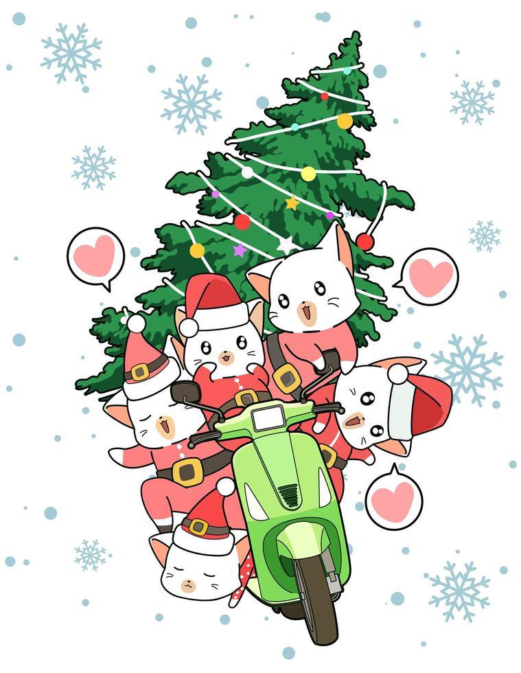 santa clausule katten rijden op bromfiets met kerstboom vector