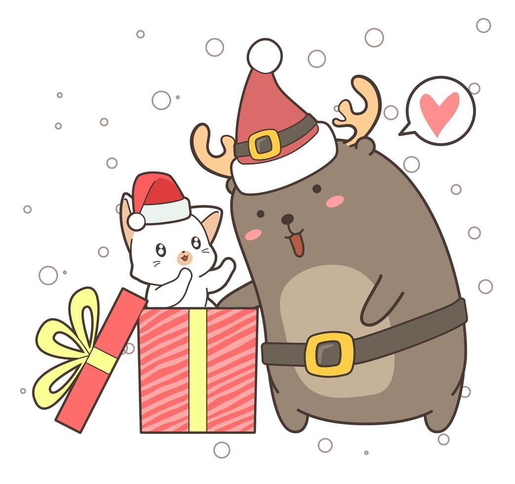cartoon rendieren en kat in geschenkdoos vector