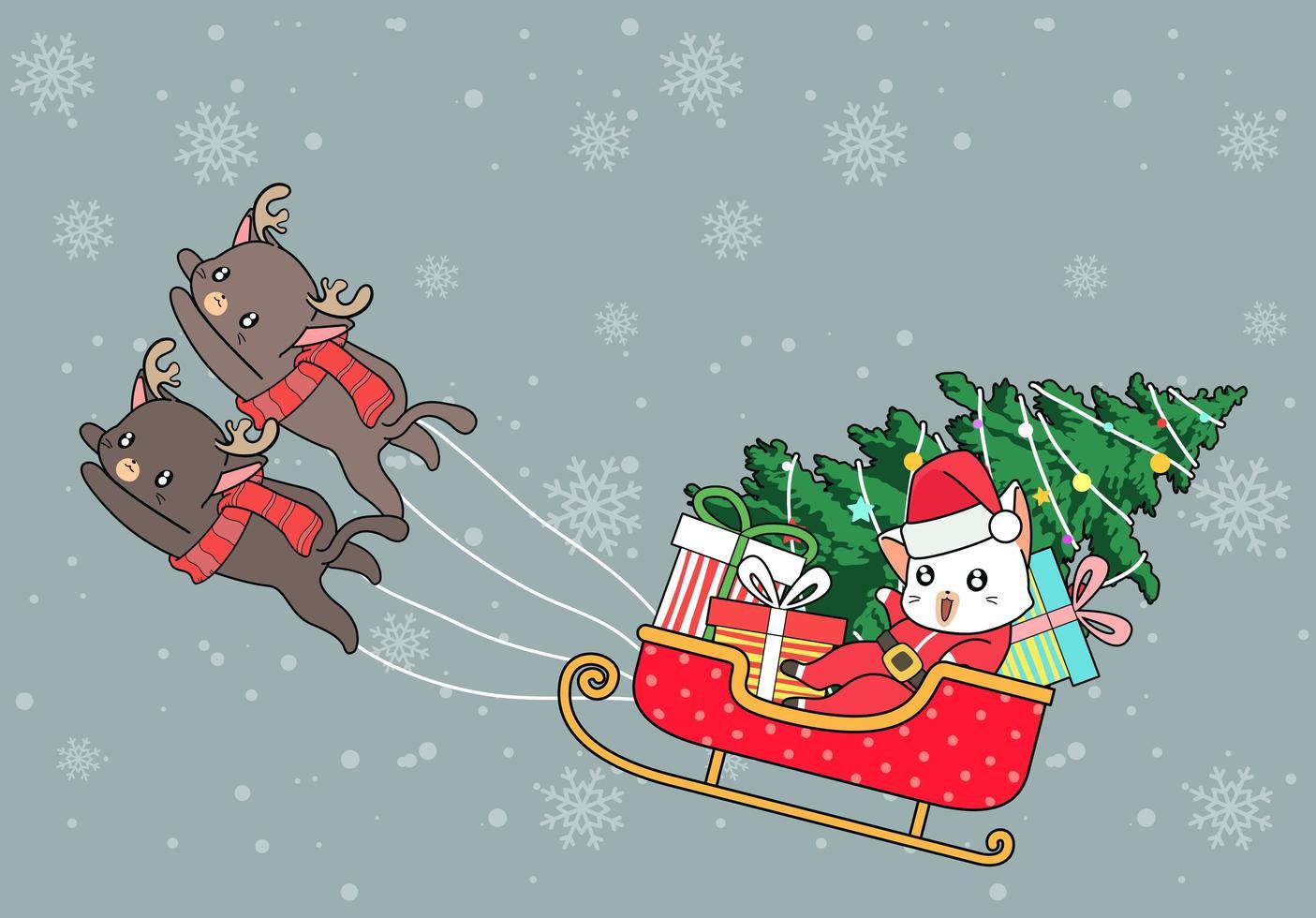 kerstman kat in slee getrokken door rendierkatten vector