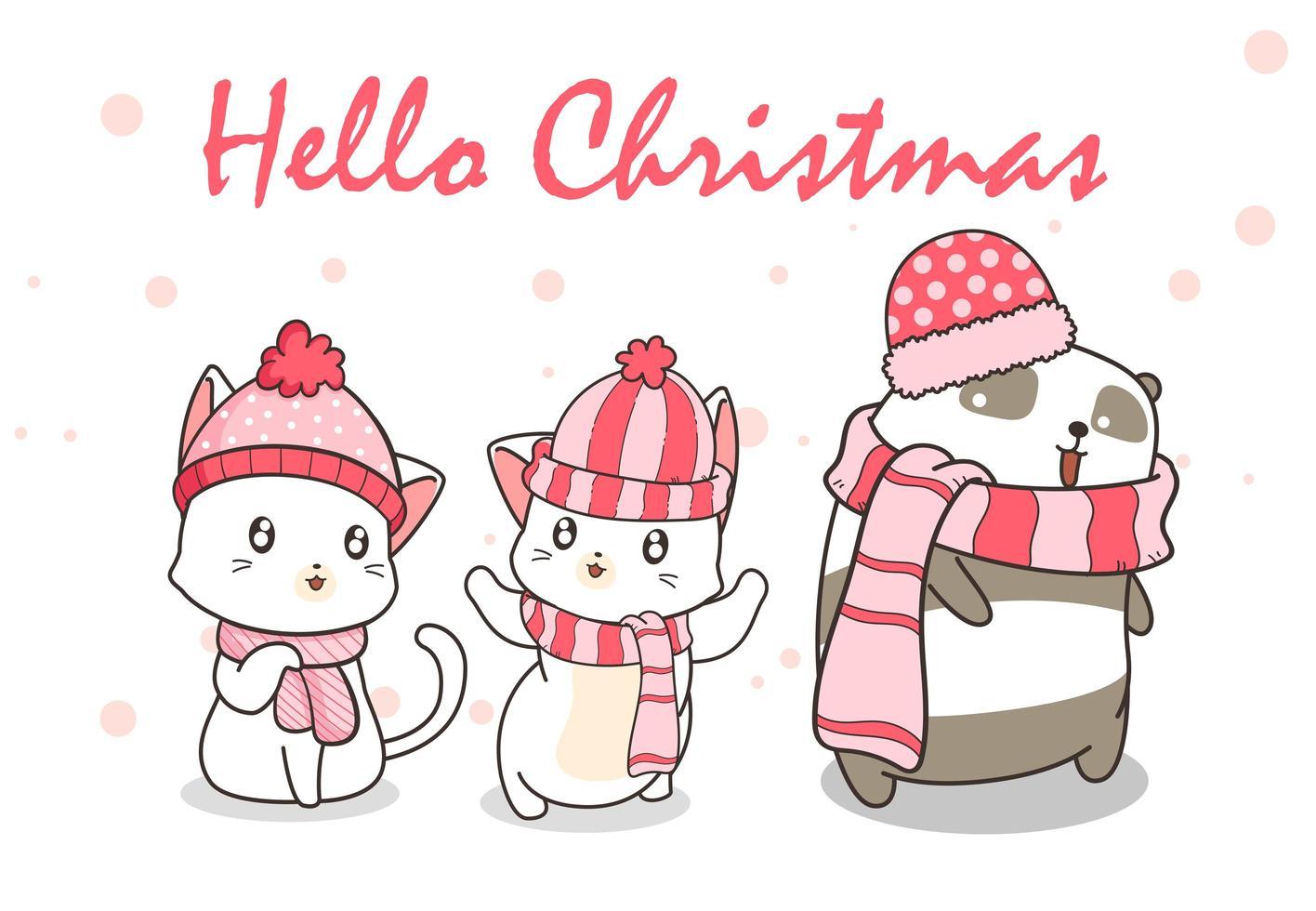 '' hallo kerst '' met katten en panda's in winterkleding vector