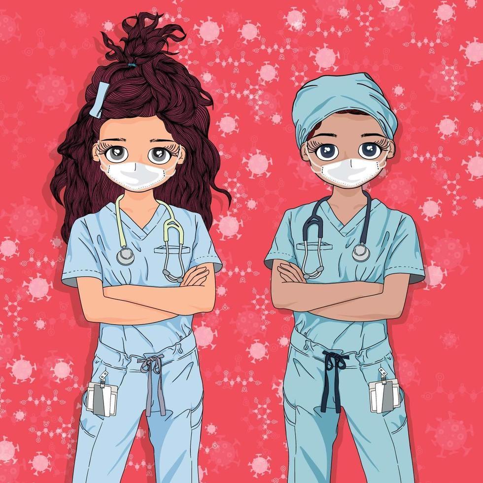 vrouwelijke artsen staan samen vector