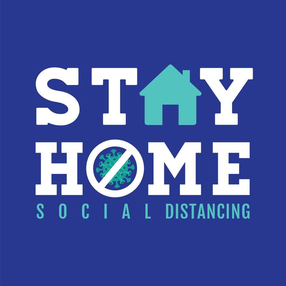 blauw verblijf thuis bord met pictogrammen vector