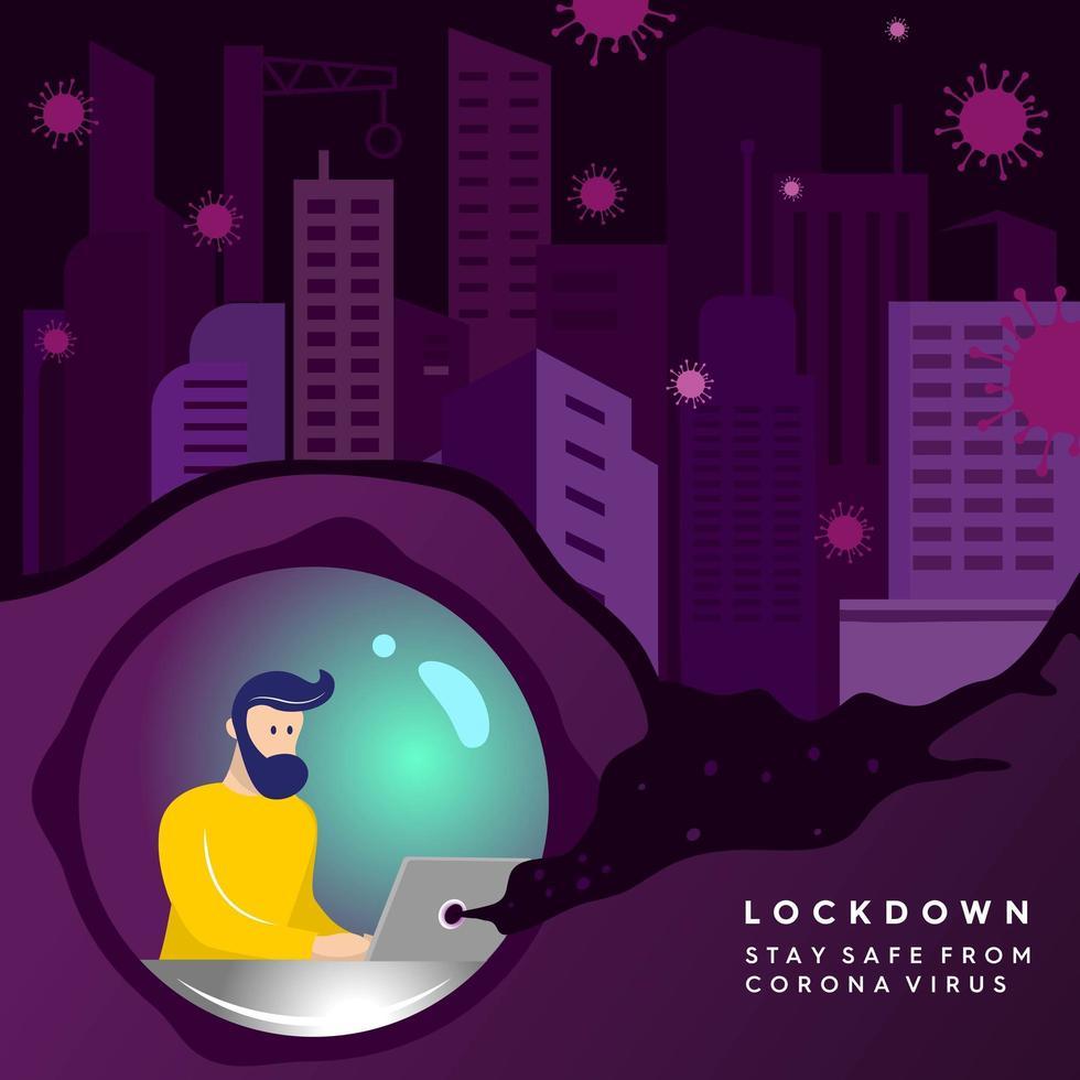 Blijf thuis virus lockdown poster vector