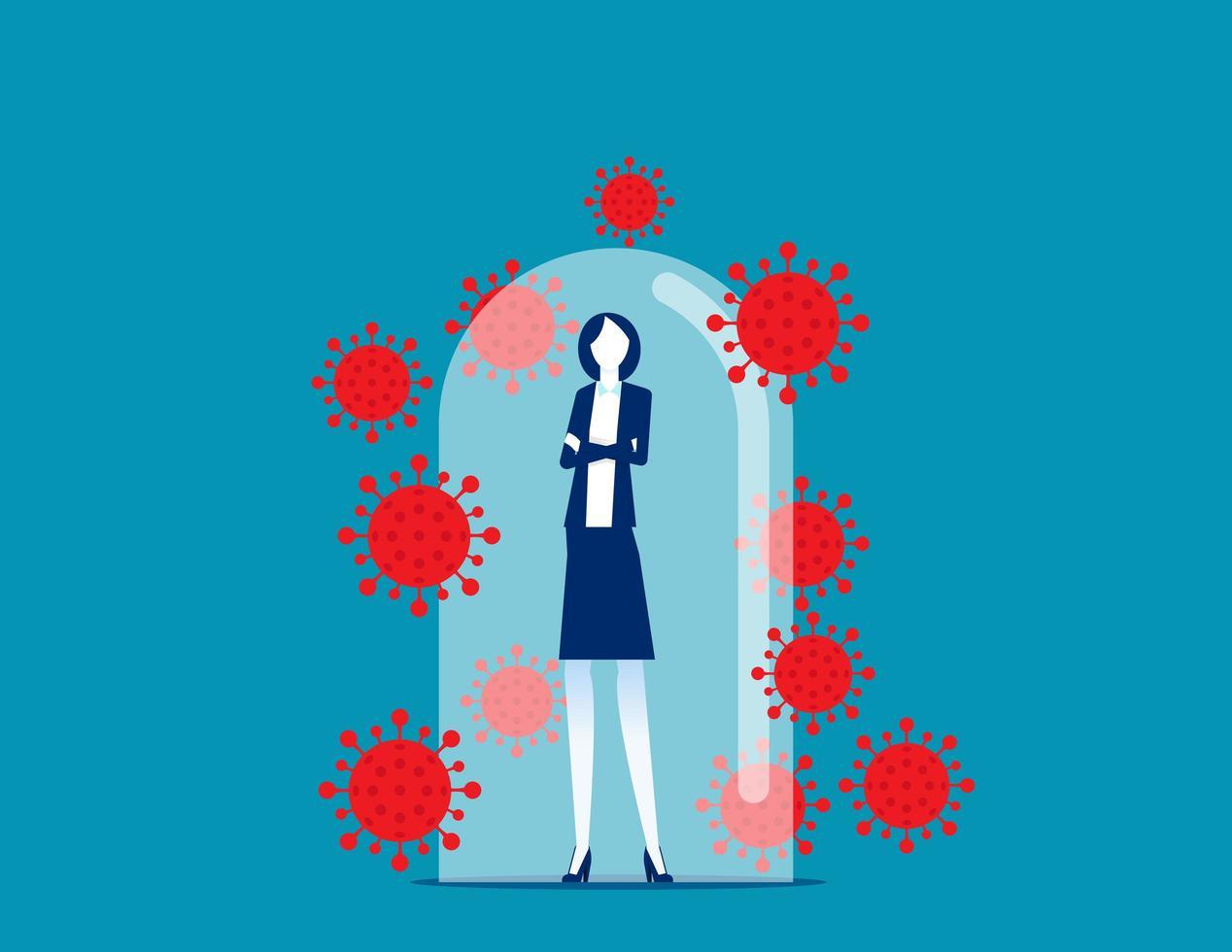 zakenvrouw in glas bescherming tegen covid-19 vector