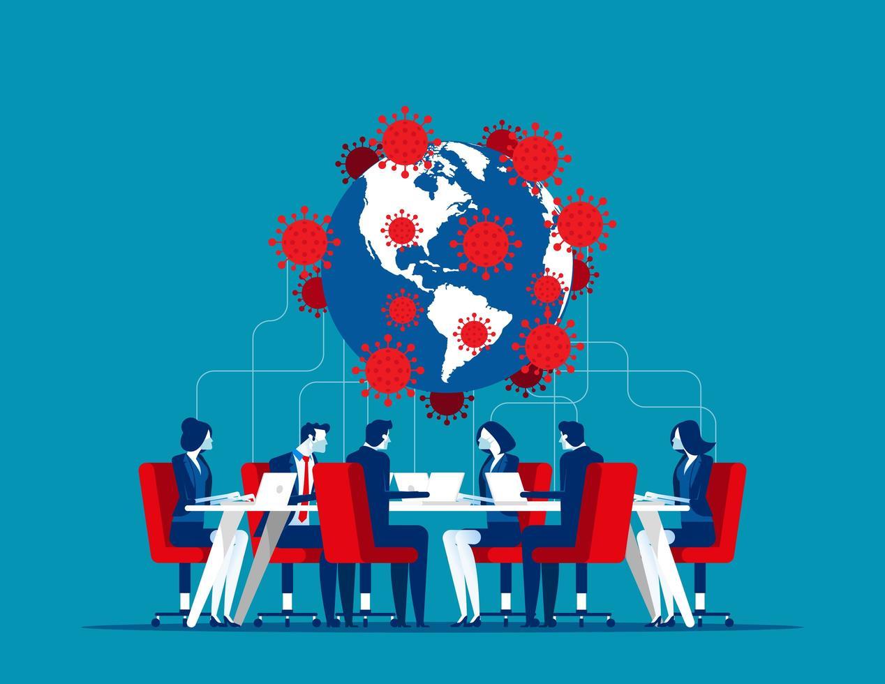 wereldwijde bijeenkomst over covid-19 vector