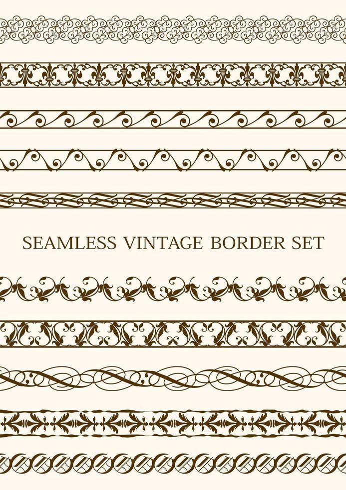 set van naadloze bruin vintage randen vector