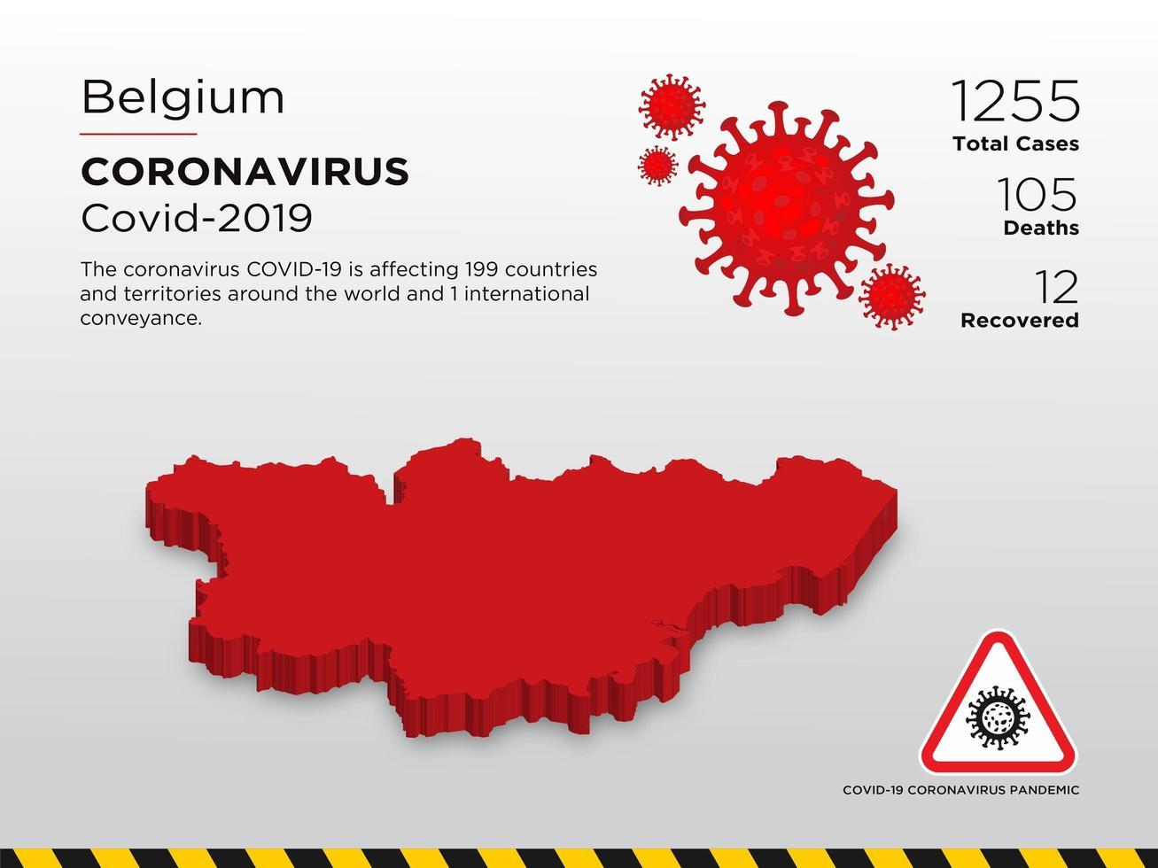 België getroffen landkaart van coronavirus vector