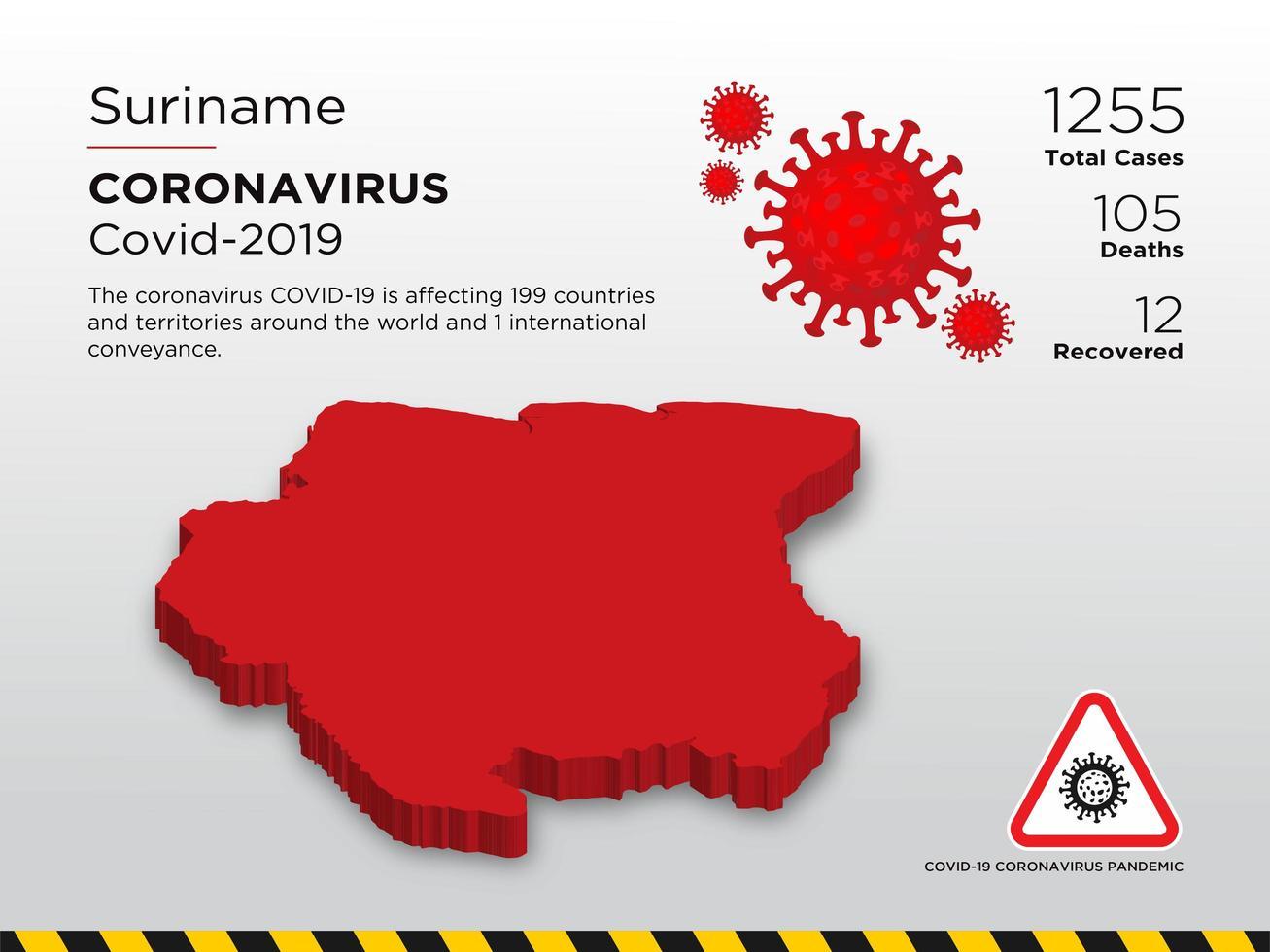 Suriname getroffen landkaart van coronavirus vector