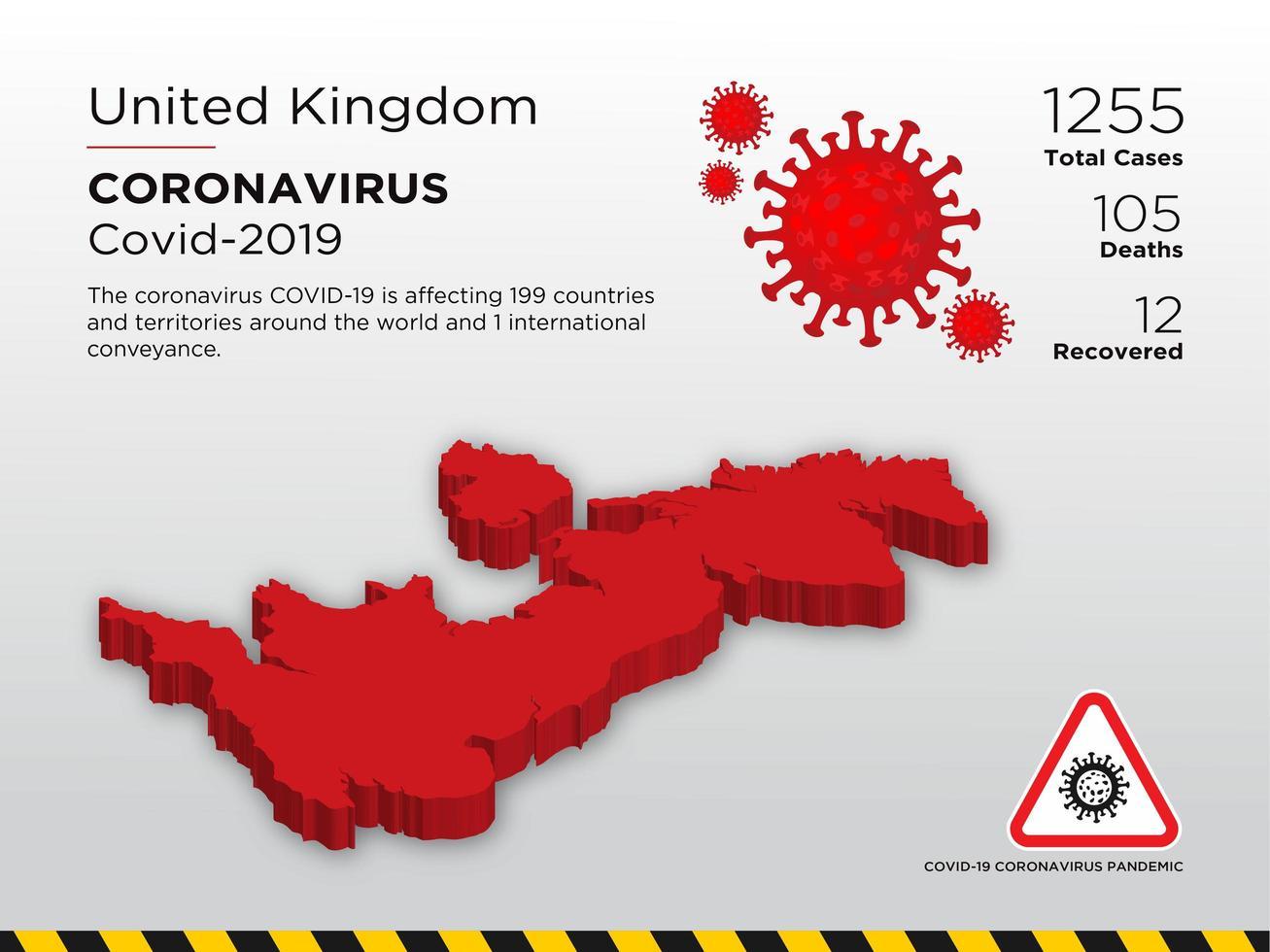 Verenigd Koninkrijk getroffen landkaart van coronavirus vector