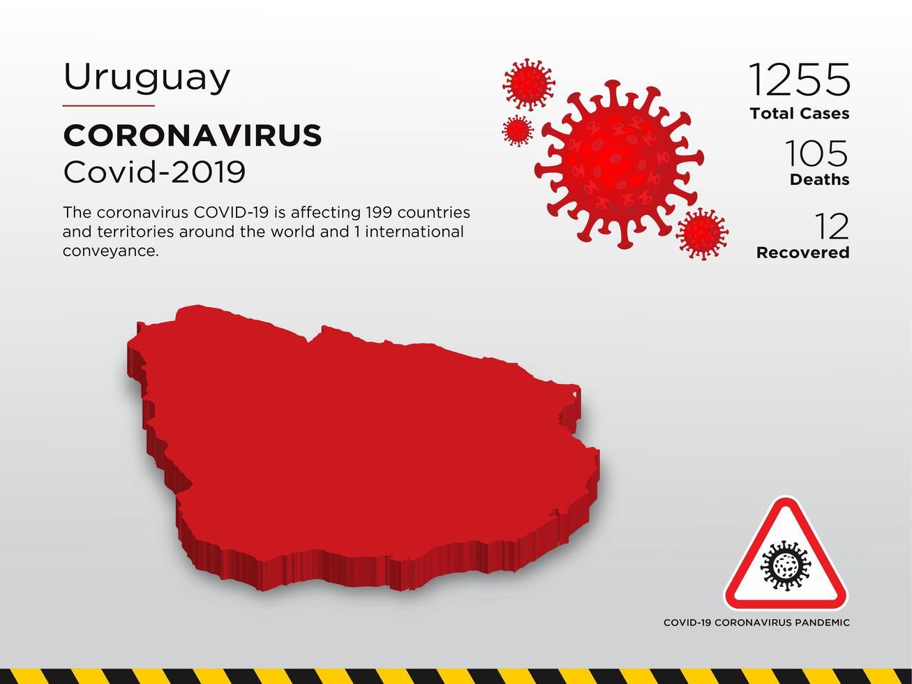 uruguay getroffen landkaart van coronavirus vector