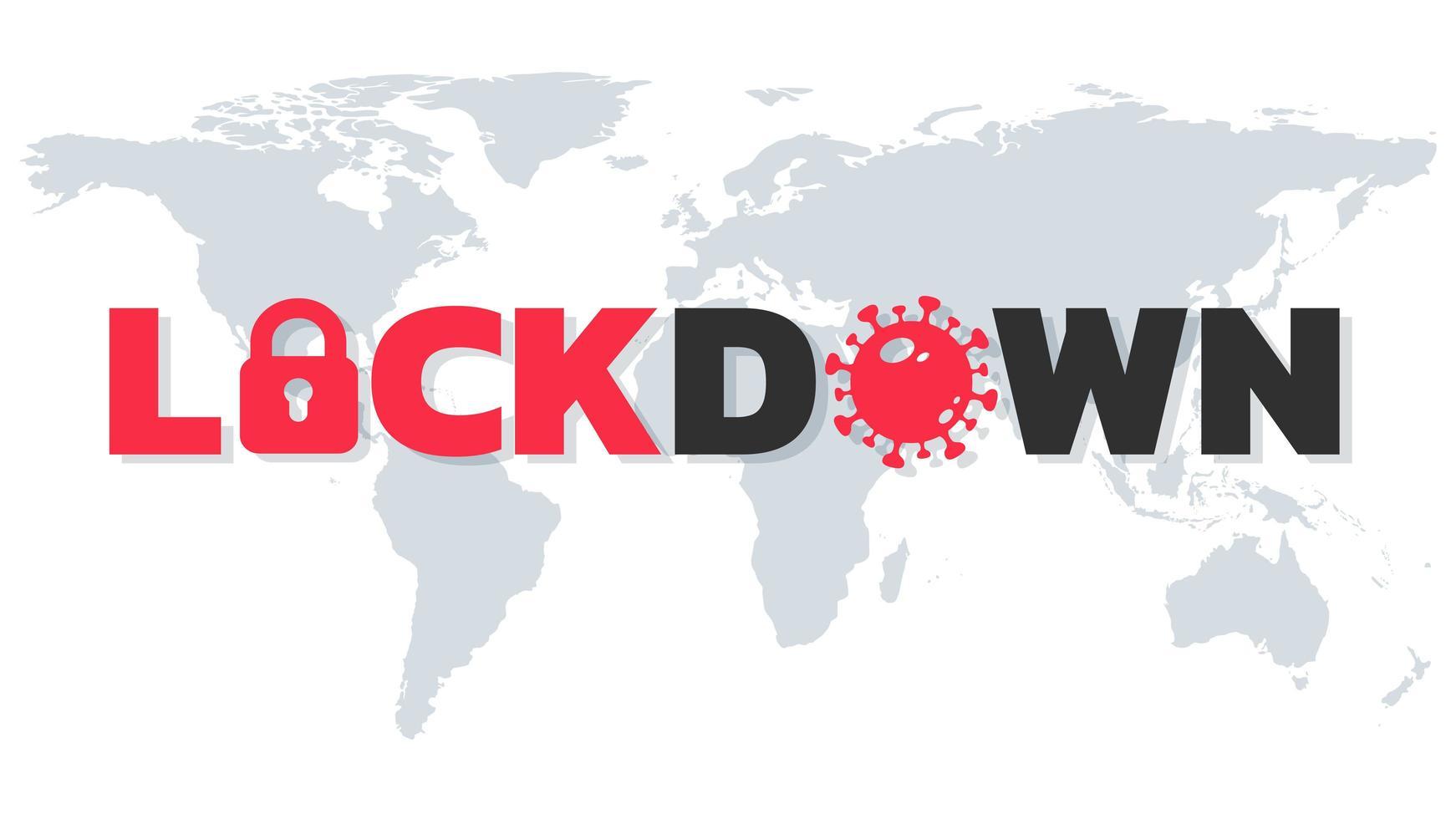 lockdown tekst op wereldkaart vector