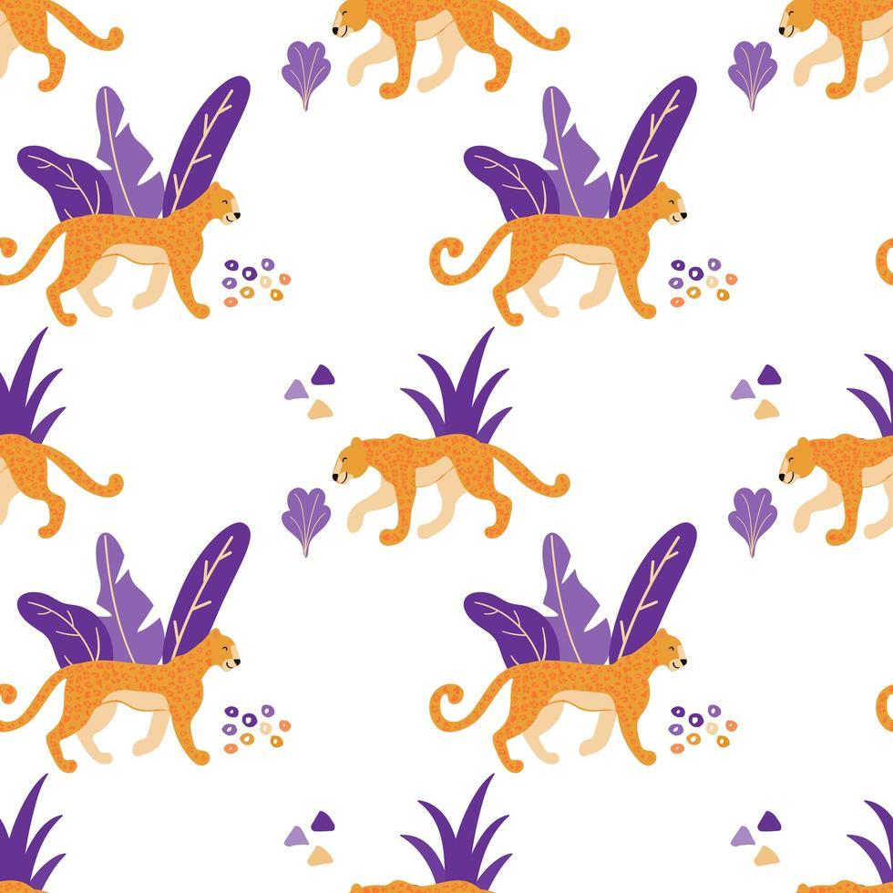wilde jaguar katten naadloos patroon. vector