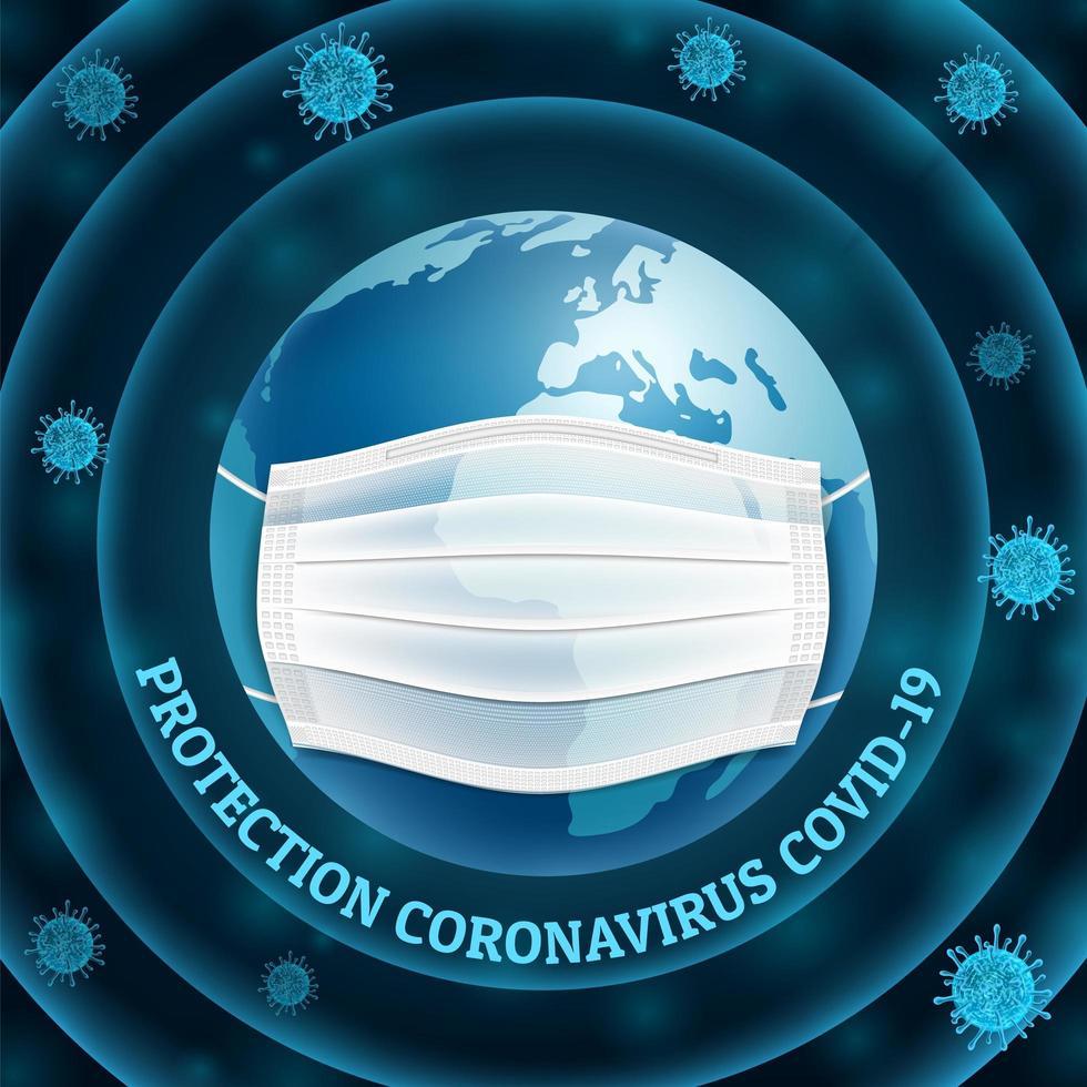 aarde in neonstijl die virusbescherming draagt vector