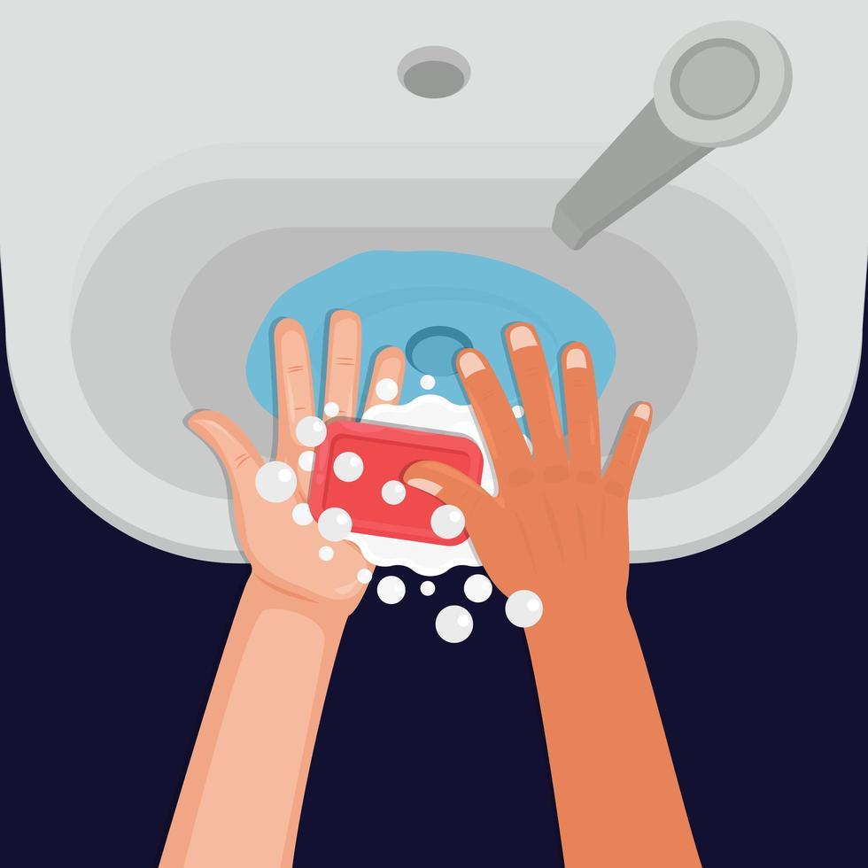 handen wassen met zeep in de gootsteen vector