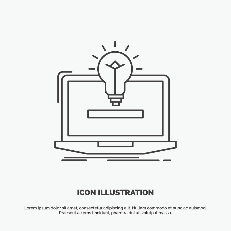 zwart-wit platte lijn laptop met lamp pictogram vector