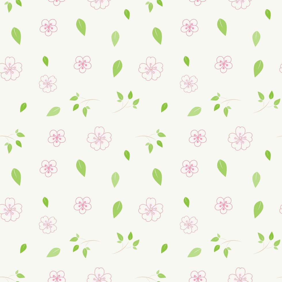 roze bloemen en groen bladerenpatroon vector