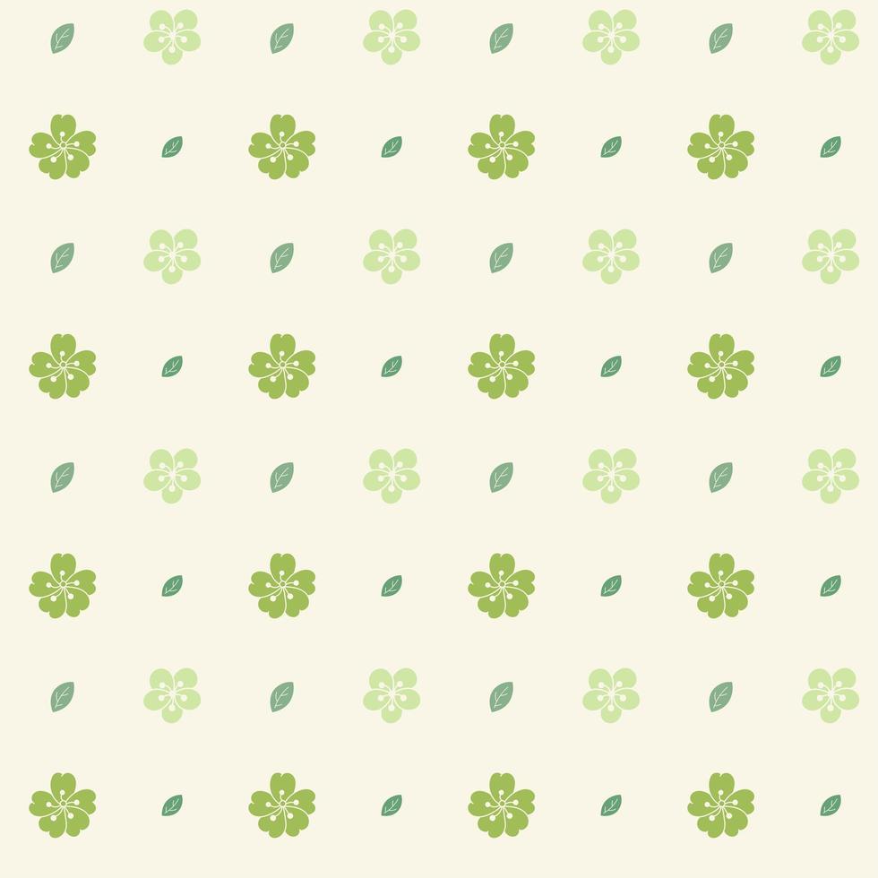patroon met groene bloemen op crème achtergrond vector