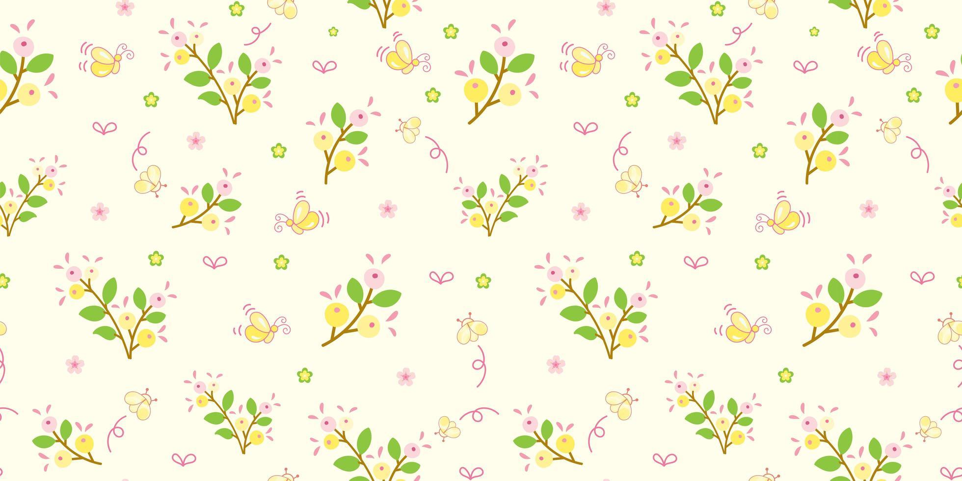 geel bloemen en groen bladerenpatroon vector