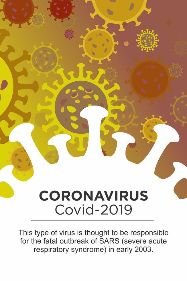 coronavirusbeschrijving in groot viruselement vector