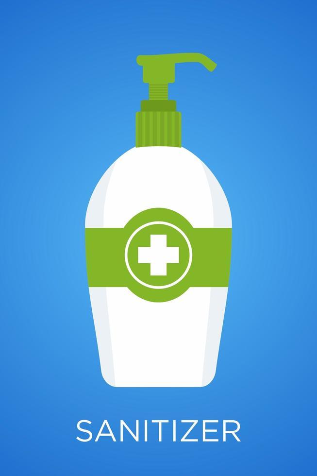 groene en witte hand santizer fles vector