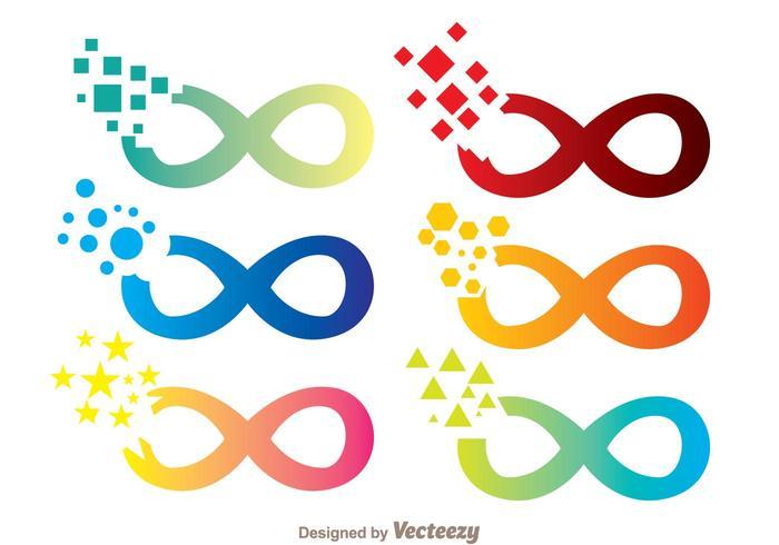 Gebarsten Oneindige Pictogrammen vector