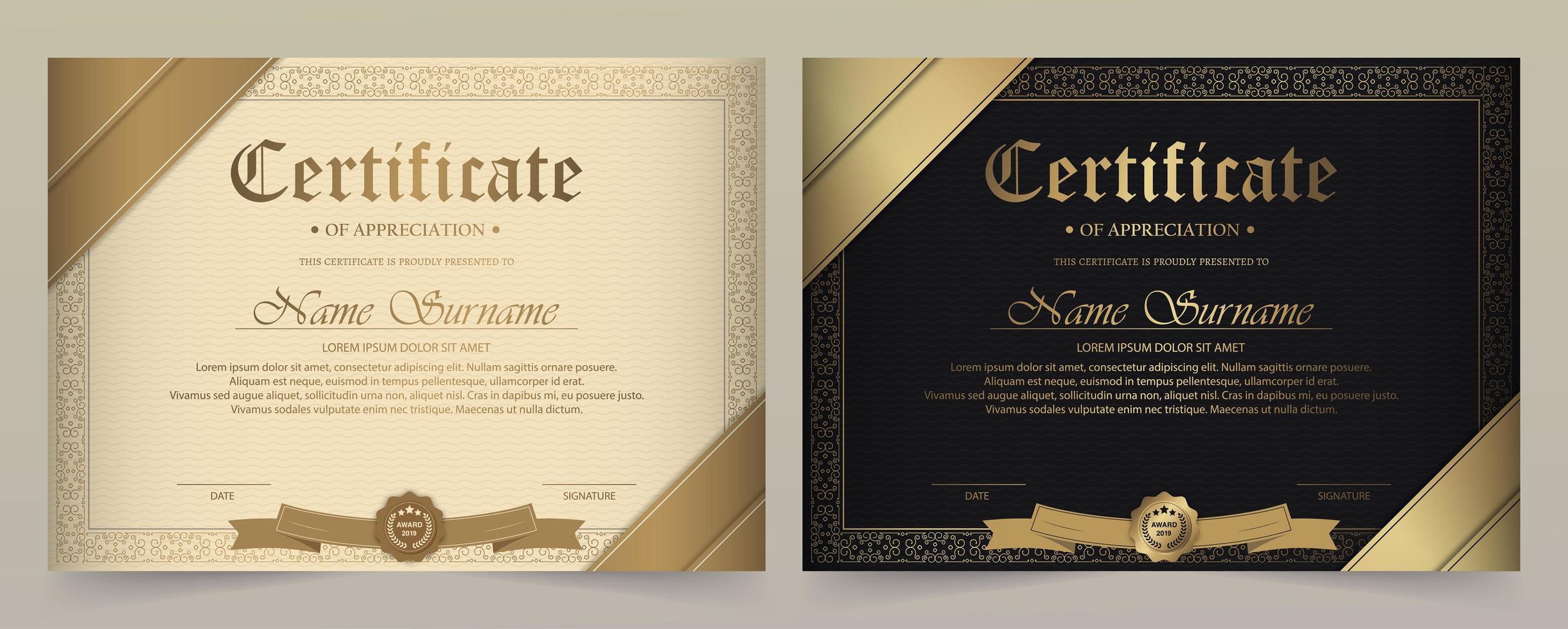certificaat van waardering sjabloon set vector