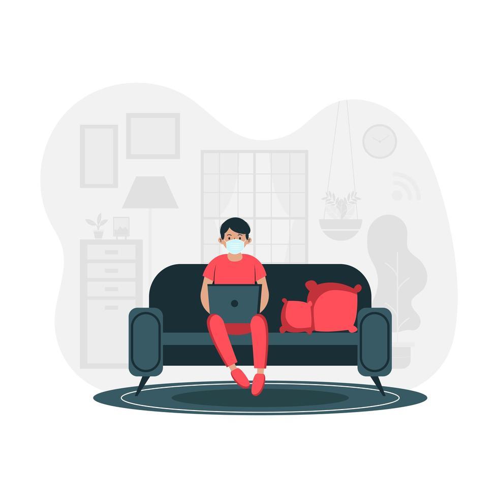 mannelijke freelancer of student werkt vanuit huis vector
