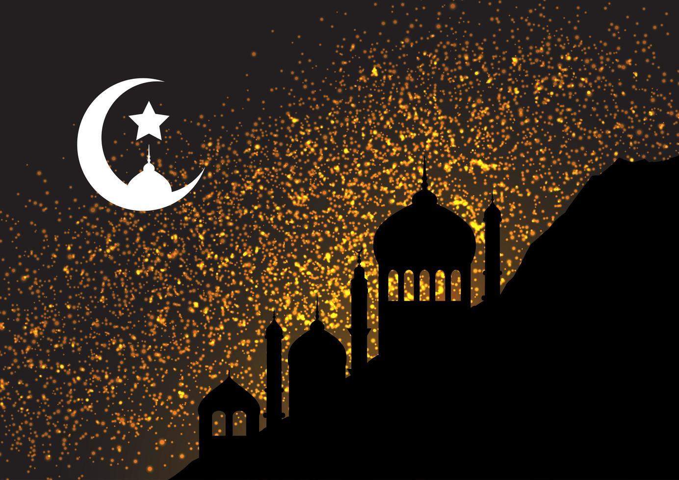 gouden glitter nachtelijke hemel vector