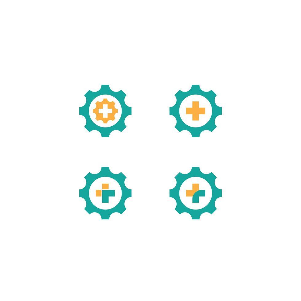 medische cross gear icon set vector