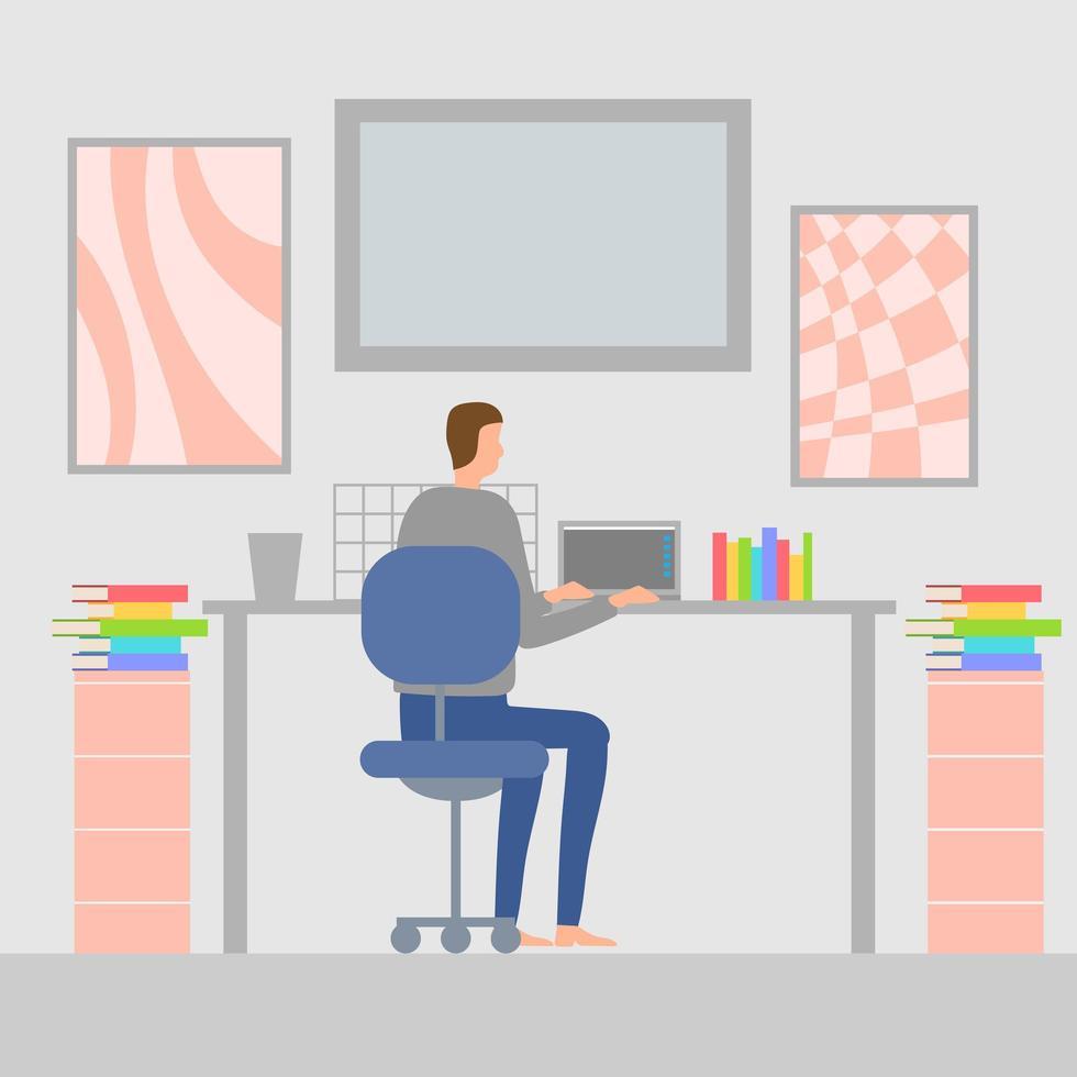 vlakke stijl man aan het werk in het kantoor aan huis vector
