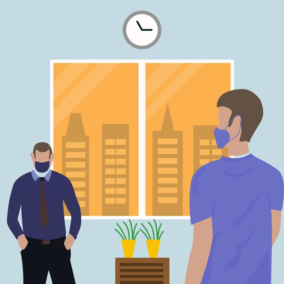 sociale afstandsmensen die maskers dragen in bureau vector