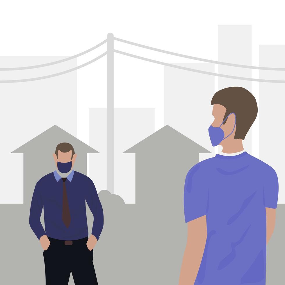 sociaal afstandelijke mensen in de stad met maskers vector